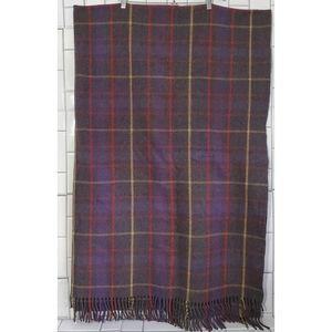 RAYMOND GAGANDOOT Large Wool Plaid   Tweed Blanket   Throw with Fringe Detail